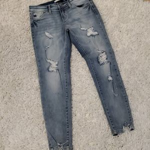 Kancan mid rise stretch destroyed skinny jeans